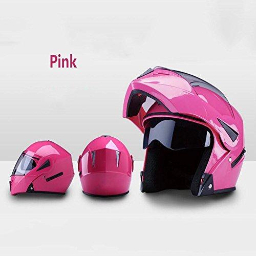 XRK Motorradhelm Männlich Elektroauto Lokomotive Weiblichen Anti-Fog Helm Vier Jahreszeiten Doppelspiegel Offenes Gesicht Helm Integrierte Reithelm,Pink
