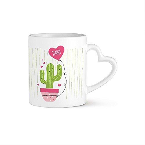 ein kaktus zum valentinstag Tassenwerk Herzhenkeltasse - Kaffeebecher – Personalisiert mit Namen – Individuelle Teetasse Motiv Kaktus – Bedruckte Tasse – Keramiktasse als Geschenkidee für Männer und Frauen Zum Geburtstag