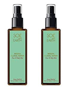 Soil and Earth Pure & Natural Mogra Floral Water/Skin Toner/Face & Body Mist - 2 X 100ml/3.38 fl.oz - Organic - Steam Distilled - Hydrosol - Chemical Free