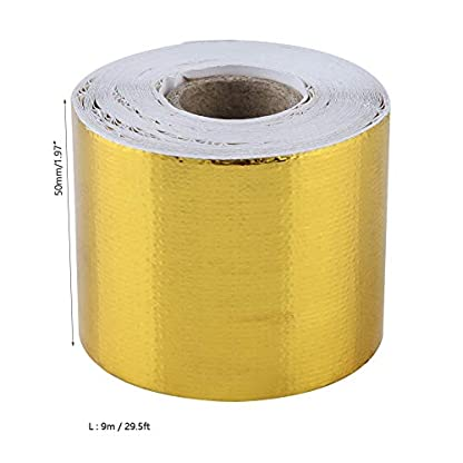 Cinta Adhesiva, 1 Rollo de oro del Coche de Aluminio Cinta Adhesiva Cinta Adhesiva Reflectante Escudo Protector Térmico(10M*5CM)