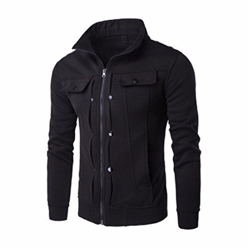 Men's Fashion Solid Slim Zipper Sweatshirts Black