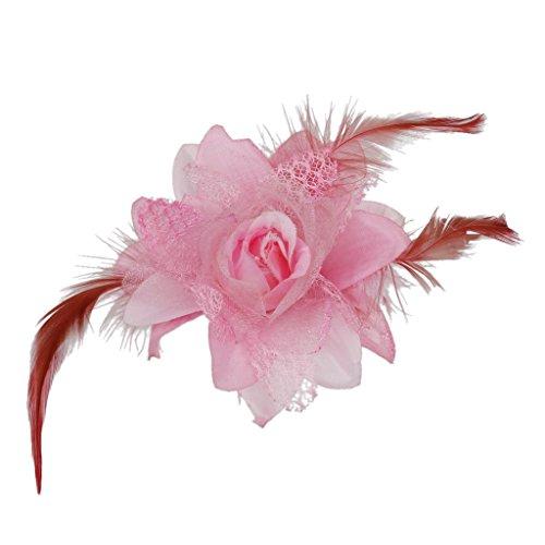 Feder Fascinator Haarspange Haarblumen Haarklammer Haarclip Haarspangen - Rosa