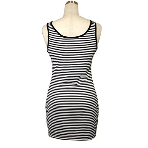 Transer ® Mini-robe Slim Femmes Bandage moulante sans manches col rond Soirée Stripe Party(S-XL) Noir/Blanc