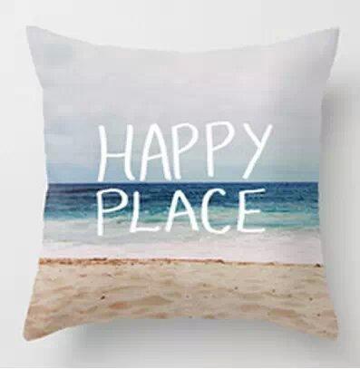 Hidoon® 18x18 Zoll Schöner und heißer Verkauf My Happy Place Strand Dekokissen
