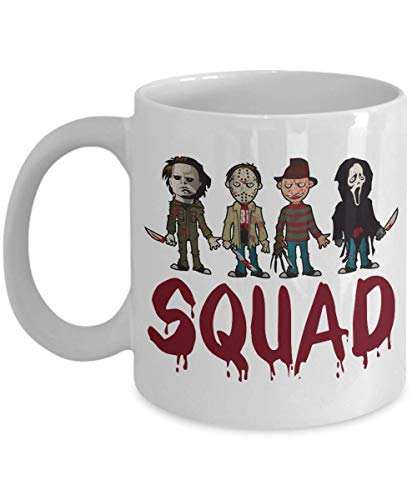 Squad Michael Myers Jason Voorhees Freddy Krueger Leatherface - Halloween, Squad Horror Movies, Novelty Present, Unique Kaffeebecher ()