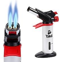 Takit KBT - Küchenbrenner mit Doppelflamme, Flambierer, von Crème brûlée bis BBQ, von Köchen verwendeter Flambierbrenner – Butangasbrenner - Grau