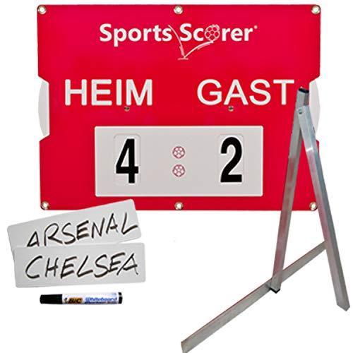 SPORTS SCORER Fußball Spielstand Anzeigetafel mit Ständer und Namensschildern, wetterfest, tragbar, manuell, 46cm x 32cm
