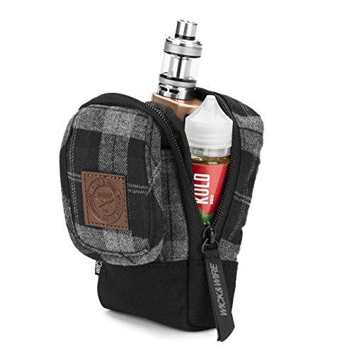 Vape-Tasche für Reisen - Sicher, Geordnet, Premium Vape-Etui - Passend für mittel mechanischen Box Mods, Liquids, Batterie, Tank-Halter & Zubehör - Wick and Wire (Stash Grau Plaid) -