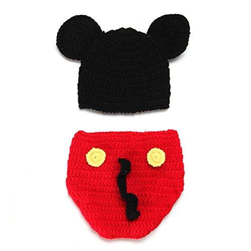 HUPLUE Baby Mickey Mouse Fotografie Prop Kostüm Cute Crochet Strickmütze Windel Schuhe (Cute Mouse Kostüm)