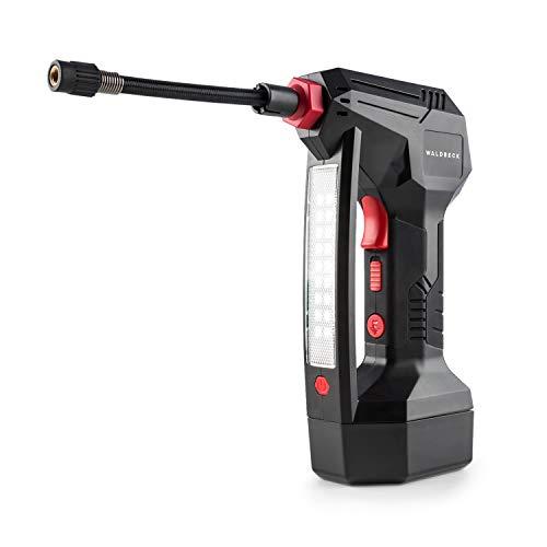 Waldbeck AirBuddy • Compressore • Pompa Elettrica • Pompa a Batteria Ricaricabile • 120 W • Luce LED Batteria da 1500 mAh • 0,3-10,3 Bar • Accessori Inclusi • Colore Nero/Rosso
