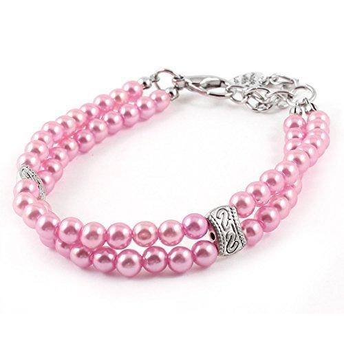 Dual-Reihen Perlen Dekoration Hund Yorkie-Kragen-Halskette S Rosa (Yorkie-perle)