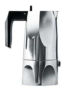 Alessi MT18/1 Ossidiana, Caffettiera espresso in fusione di alluminio. Manico e pomolo in resina termoplastica, nero. 1 tazza.
