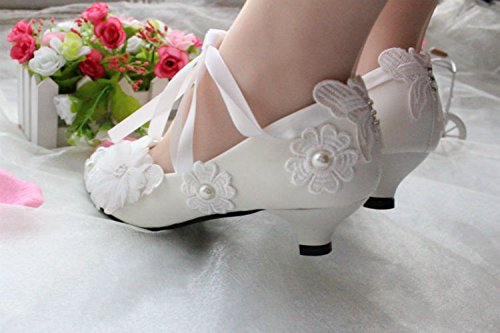 JINGXINSTORE Bianco scarpe matrimonio Pizzo nuziale perla 5.5 cm wedge,Light ivory