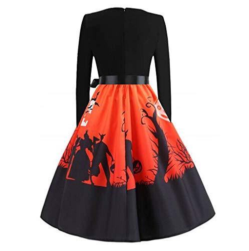 Junjie Frauen Langarm Knielang Halloween O-Neck Maxi-Kleid Musiknoten Abendkleid Vintage Retro Blumen drucken Vintage Flare Kleid schwarz -