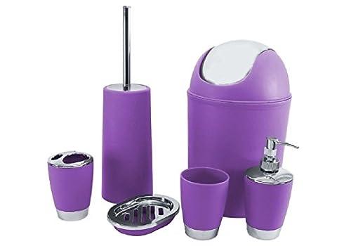 Heißklebestifte Badezimmer Zubehör Set Seifenschale Spender Becher Zahnbürste holderwastebin, violett, Einheitsgröße
