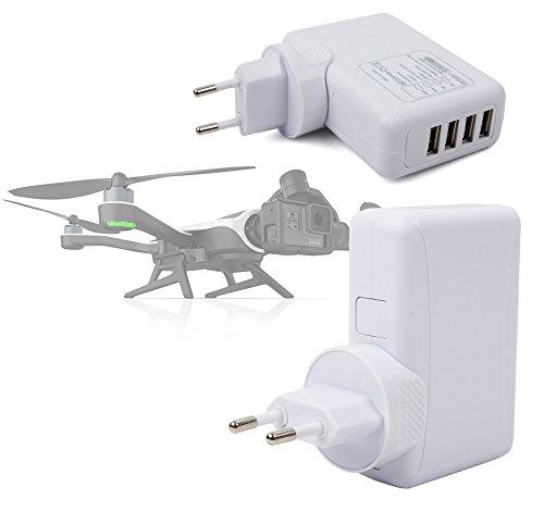 DURAGADGET Cargador De Viaje Blanco para Dron GoPro Karma Drone - con 4 Puertos USB Y Enchufe Europeo