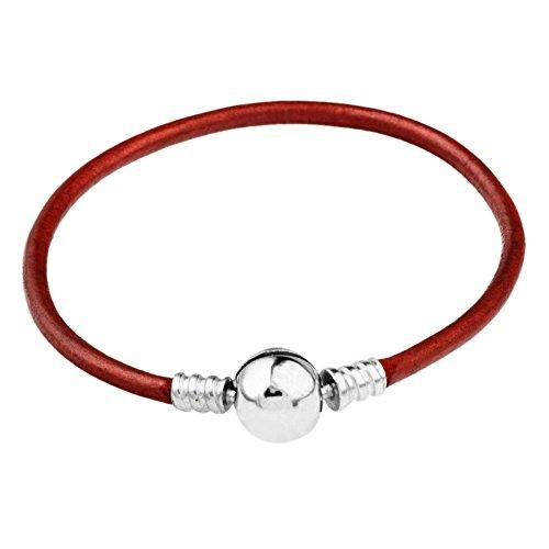 ANNYMORE 21cm Rotonda palla fermagli chiusura genuino pelle europeo sterlina 925 argento Bracciali per charms beads collana - pelle liscia,