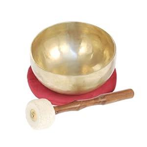 Handgefertigte tibetische Klangschale aus Indien inkl. Unterlage & Holzklöppel