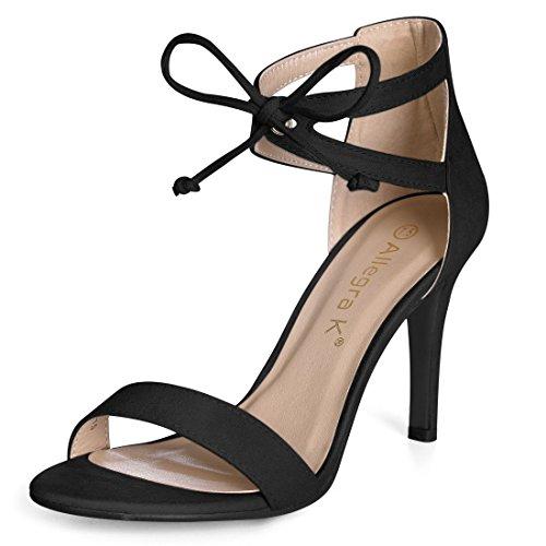 Allegra K Damen Ausschnitt Seiten Stiletto AbsatzKnöchel Krawatte Sandalen, 38 EU/7.5 US