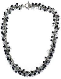 Jodie Rose Multi Black and Clear Crystal Cluster Necklet of 42 cm