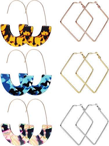 6 Paare Geometrische Creolen Ohrringe Set Enthält 3 Paare Edelstahl Quadrat Creolen, 3 Paare Acryl Ohrringe Harz Tropfen Ohrringe Schmuck für Mädchen Frauen -