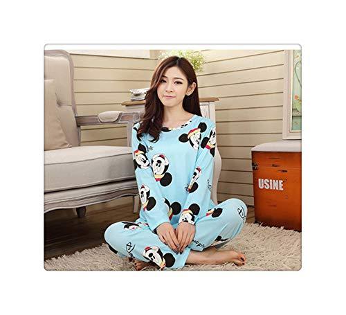 PLOPYSE& Winter 2pieces Pyjamas Set Women Girls Cotton Round Neck Pajamas Sets Teacup Cat Sleepwear Clothes miqitou Blue M -