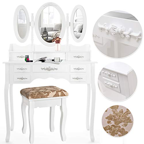 KESSER® Schminktisch luxuriös Weiß Kosmetiktisch Frisierkommode Spiegel Schubladen Hocker | Schminkspiegel | Frisiertisch | Farbe: Weiß - 3 Stück Spiegel
