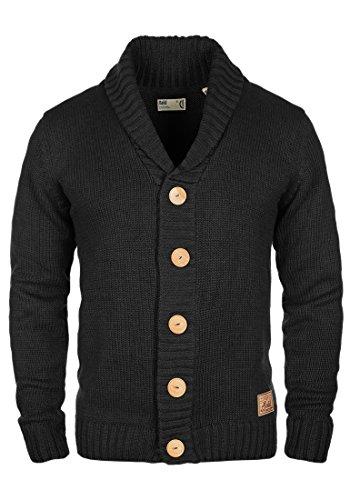 SOLID Pagan Herren Strickjacke Cardigan Grobstrick mit Schalkragen aus hochwertiger Baumwollmischung Meliert, Größe:M, Farbe:Black (9000)