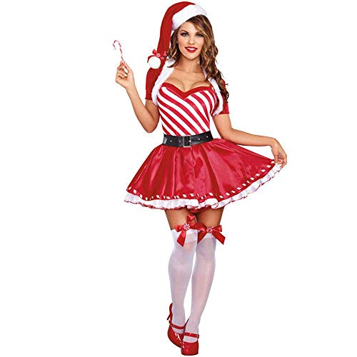 FrebAfOS Weihnachten Abnutzung der Frauen, Partei des neuen Jahres Spiel Sexy Uniform, Night Show Kostüm, süßes Kleid, M, Medium