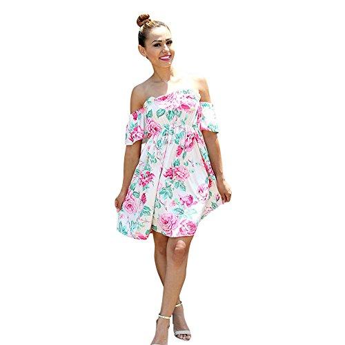 chen Kinder Floral Schulterfrei Familie Kleid Sommerkleid Kleidung (Barbie Kostüm Für Baby)
