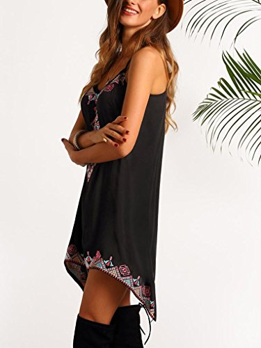 Amlaiworld Femmes sans manches Bohême Summer Mini robe Noir