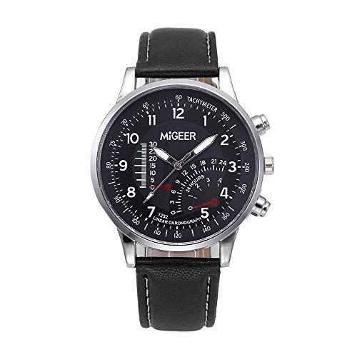 Suitray Armbanduhr Herren Leder, Männer Armbanduhr Luxus Analoge Quarzuhr Beiläufig Uhr Geschenk,Runde Zifferblattgehäuse Edalstahlband Uhren