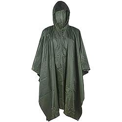XUE Militar Impermeable Ejército Encapuchado Capa de Lluvia Poncho Verde para Cámping Excursionismo Deportes al Aire Libre