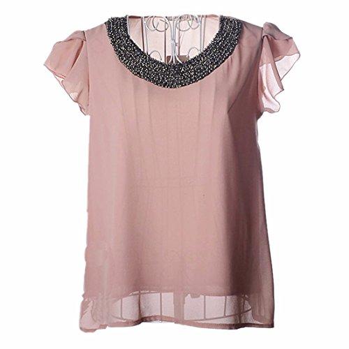 QIYUN.Z Mode Falbala Kurze Huelse Perlen Kragen Frauen-Sommer-Chiffon- T-Shirts Oberteile Bare-Pulver