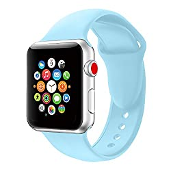 Apple Watch Strap 38mm,soft Silicone Band Replacement Wrist Strap For Apple Watch Sport Series 3 Series 2 Series 1 (38mm Sky Blue)