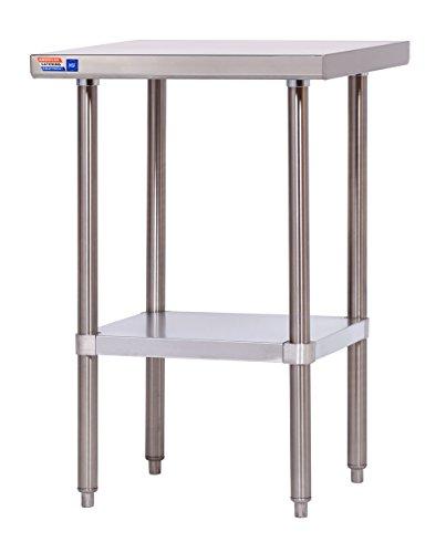 Flat-top-arbeitstisch (Edelstahl Tisch Mitte 600mm extra tief Flat Top)