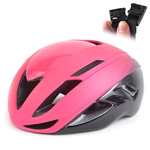Szl Rennradhelm Triathlon Rennradhelm Ultraleichte magnetische Schnalle MTB-Helme, rosa,schwarz