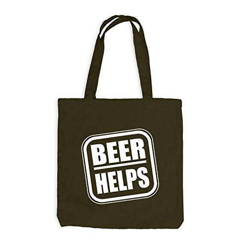 Jutebeutel - Beer Helps - Fun Spaßmotiv Therapie Spruch Olive