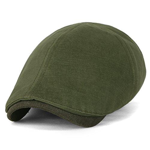 cht Baumwolle Stretch-fit klassischer Stil gewaschene Schieber Hut flach Cap , Olive Drab (Paperboy Hut Für Männer)