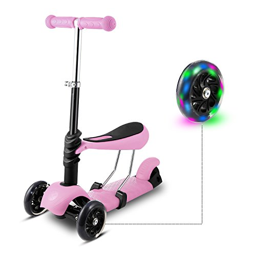 WeSkate Dreiradscooter Kinder Scooter Roller Tretroller mit Sitz 3-in-1 | 3 Räder Höhenverstellbarer Kinderscooter Kinderroller mit Leuchtrollen für Kleinkinder Jüngere Mädchen ab 3 Jahre Lila (Smartrike Kinder-dreirad)