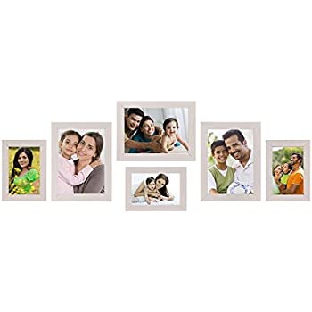 Amazon Brand - Solimo Collage Photo Frames, Set of 6,Wall Hanging (3 pcs - 4x6 inch, 3 pcs - 5x7 inch),Cream
