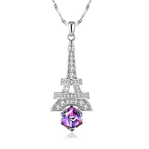 Collier Femme Argent 925 Pendentif Tour Eiffel Avec Cristal de Swarovski, Cadeau Anniversaire Femme Maman, Violet ou Bleu, Chaîne Réglable 46CM