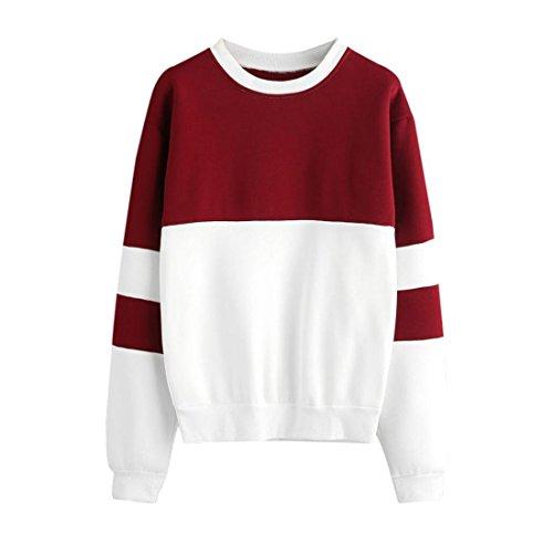 Rote Paisley Patchwork (Damen Pullover Btruely Frau Patchwork Sweatshirt Mode Langarm Beiläufig Sweatshirt Bluse (L, Rot))