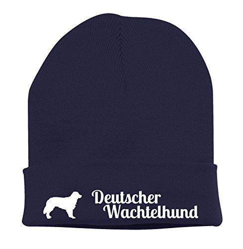 Strickmütze - DEUTSCHER WACHTELHUND Jagdhund Jäger Wachtel - Stickerei Hund Winter Mütze Wintermütze Beanie Mütze Siviwonder navy-weiß