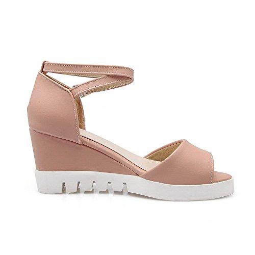 VogueZone009 Damen Weiches Material Schnalle Offener Zehe Hoher Absatz Rein Sandalen Pink