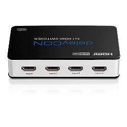 deleyCON ULTRA Serie HDMI Switch Verteiler 5 Port Automatisch - 3D Ready / FULL HD 1080p - Metallgehäuse - [5x IN / 1x OUT]