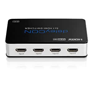 deleyCON ULTRA Serie HDMI Switch Verteiler 5 Port Automatisch - 3D Ready / FULL HD 1080p - Metallgehäuse - [5x IN / 1x OUT]