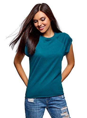 oodji Ultra Damen Baumwoll-T-Shirt Basic mit Unbearbeitetem Saum, Türkis, DE 38 / EU 40 / M