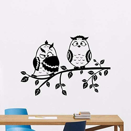 WWYJN Owls Tree Branch Wall Decal Vinyl Bird Nursery Wall Sticker Kids Room Art Decor Nature Style Home Kids Room Wallpaper Black 57x39cm (Hello-kitty-badezimmer-set)