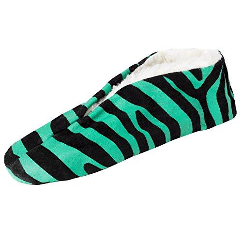BRUBAKER Damen oder Herren Anti-Rutsch Hausschuhe Echt Leder gefüttert Zebra ABS Gr. 35 - 47 Grün / Schwarz